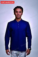 Рубашка поло с длинными рукавами темно-синее