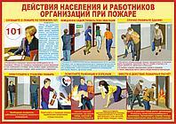 Плакат Действия населения и работников организаций при пожаре