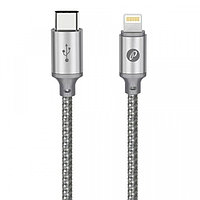 Кабель Partner USB2.0, USB type-C - lightning, 1м, серый