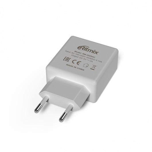 Зарядное устройство сетевое Ritmix RM-2025AC белый 2 USB
