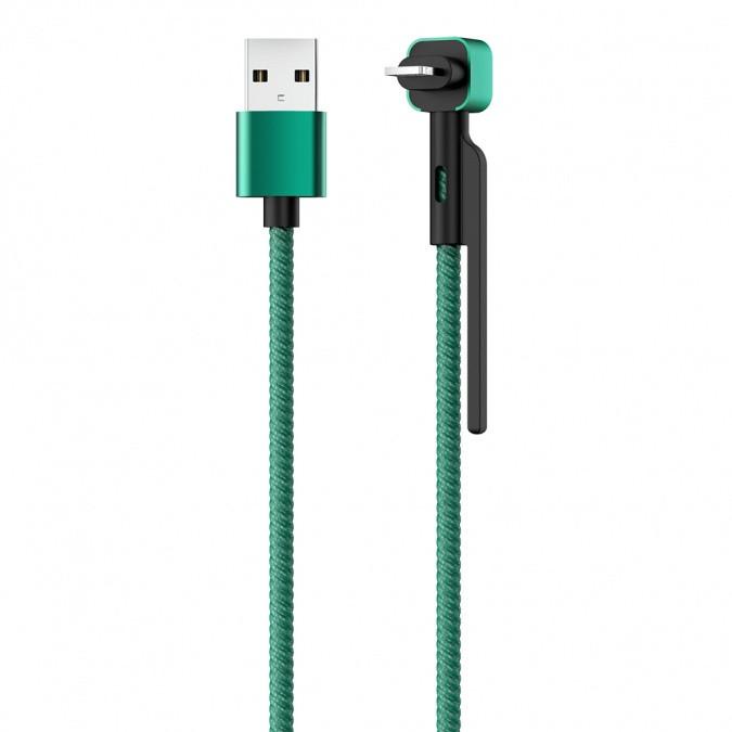 Кабель OLMIO STAND, USB 2.0 - lightning, 1.2м, 2.1A, зеленый