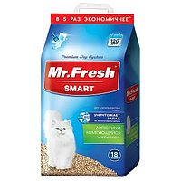 Mr. Fresh SMART наполнитель древесный комкующий для длинношерстных кошек 18 литров