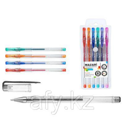 Ручка гель с блестком 6цв (без резинки)