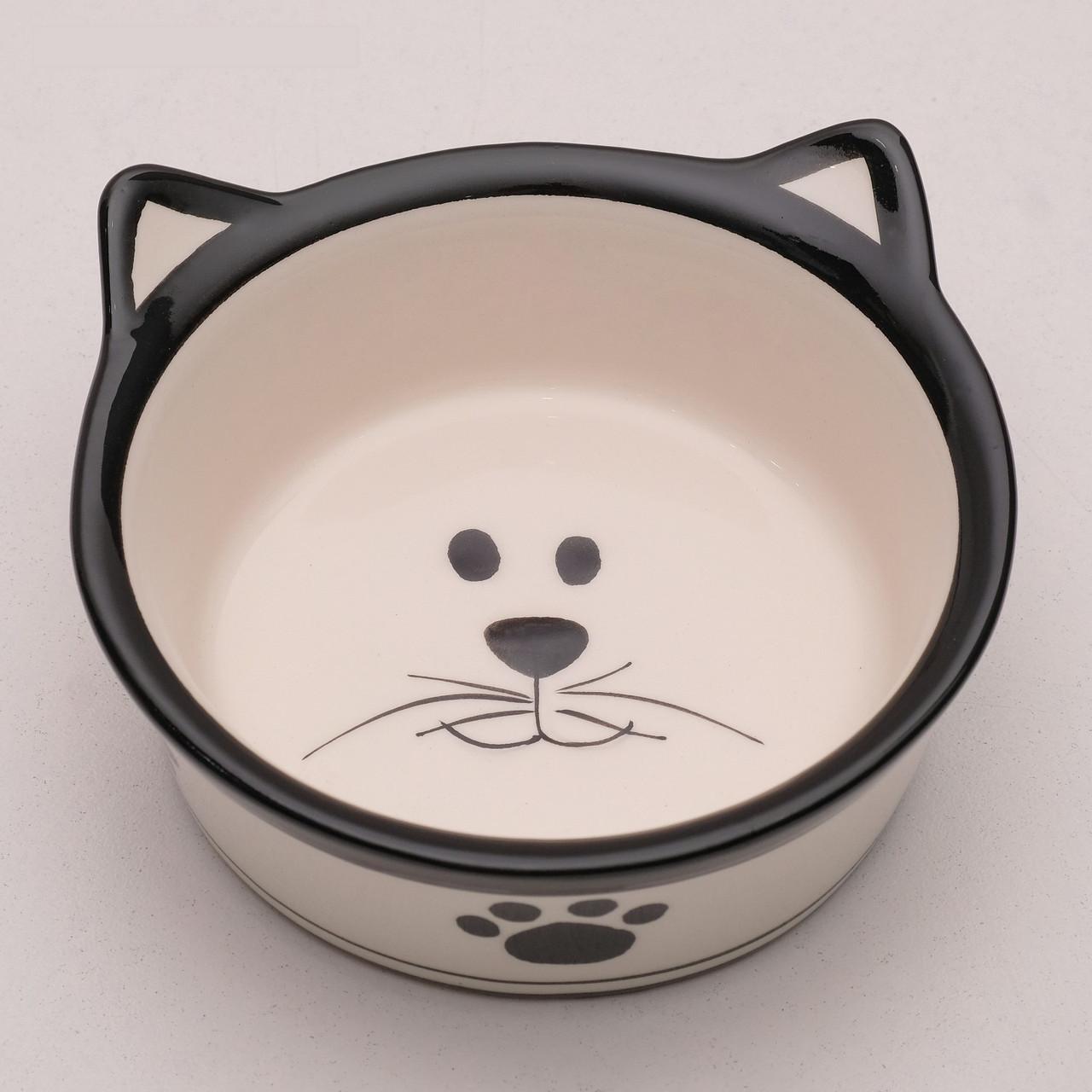 """Миска керамическая """"Подмигивающий кот"""" 150 мл, бело-черная"""
