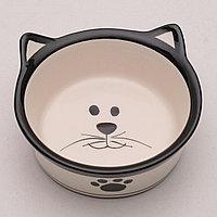 """Миска керамическая """"Подмигивающий кот"""" 150 мл, бело-черная, фото 1"""