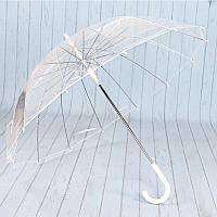 Прозрачный зонт с белой ручкой. Алюминиевые спицы.