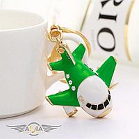 Брелок самолет гражданская авиация с кристаллами, зеленый