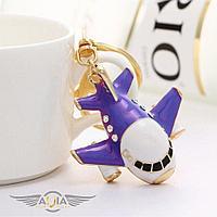 Брелок самолет гражданская авиация с кристаллами, фиолетовый