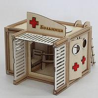 Деревянный магнитный конструктор WOODJO БОЛЬНИЦА 67 элементов. Домик для кукол