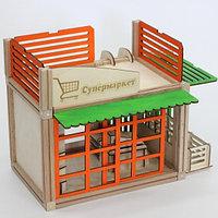 Деревянный магнитный конструктор WOODJO СУПЕРМАРКЕТ 69 элементов. Домик для кукол