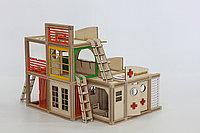 Деревянный магнитный конструктор WOODJO ГОРОДСКОЙ ЦЕНТР 187 элементов. Домик для кукол