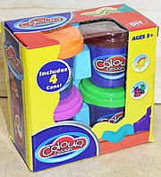 9201 Пластилин 4 баночски Colour Dough 12*13см, фото 1
