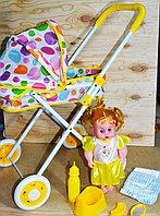 7884-1 Baby stoller Кукла с коляской лежачая с аксессуарами,гелевые колеса 62*31см