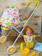 7884-1 Baby stoller Кукла с коляской лежачая с аксессуарами,гелевые колеса 62*31см, фото 2