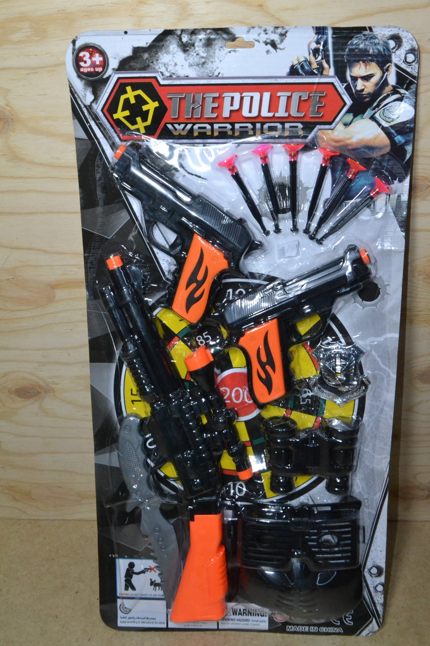 002-12 Полицейский набор на картонке The police warrior винтовка, 2 пистолета  с аксессуарами 57*29