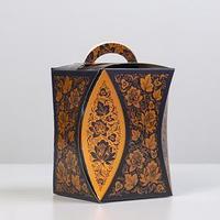 Коробка для кулича 'Узор хохломы черный' диаметр 9 см