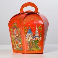 Коробка для кулича 'Палех красный' диаметр 13,4 см