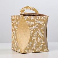 Коробка для кулича 'Стрекозы и бабочки' диаметр 12,4 см