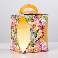 Коробка для кулича 'Бабочки цветные' диаметр 12,4 см