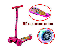 Детский самокат Disneny princes с LED подсветкой колес (четырехколесный самокат принцессы) розовый