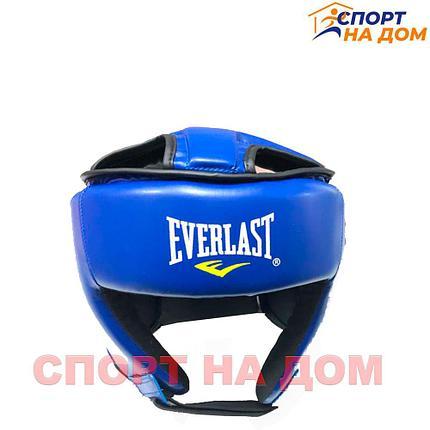 Боксёрский шлем Everlast с крышей  (синий-кожзам) M, фото 2