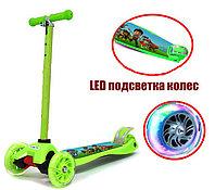 Детский самокат Pow Patrol с LED подсветкой колес (четырехколесный самокат щенячий патруль) салатовый