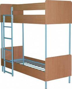 Кровать двухъярусный металлический с каркасом ЛДСП