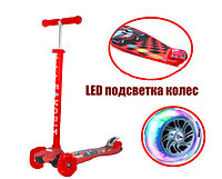 Детский самокат Racing с LED подсветкой колес (четырехколесный самокат спортивная машина) красный