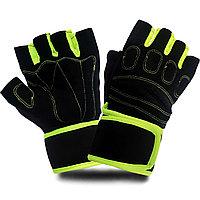 Перчатки для фитнеса и тренажеров турника (без пальцев) черно-салатовые