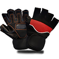 Перчатки для фитнеса и тренажеров турника (без пальцев) черно-красные