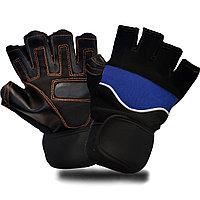 Перчатки для фитнеса и тренажеров турника (без пальцев) черно-синие