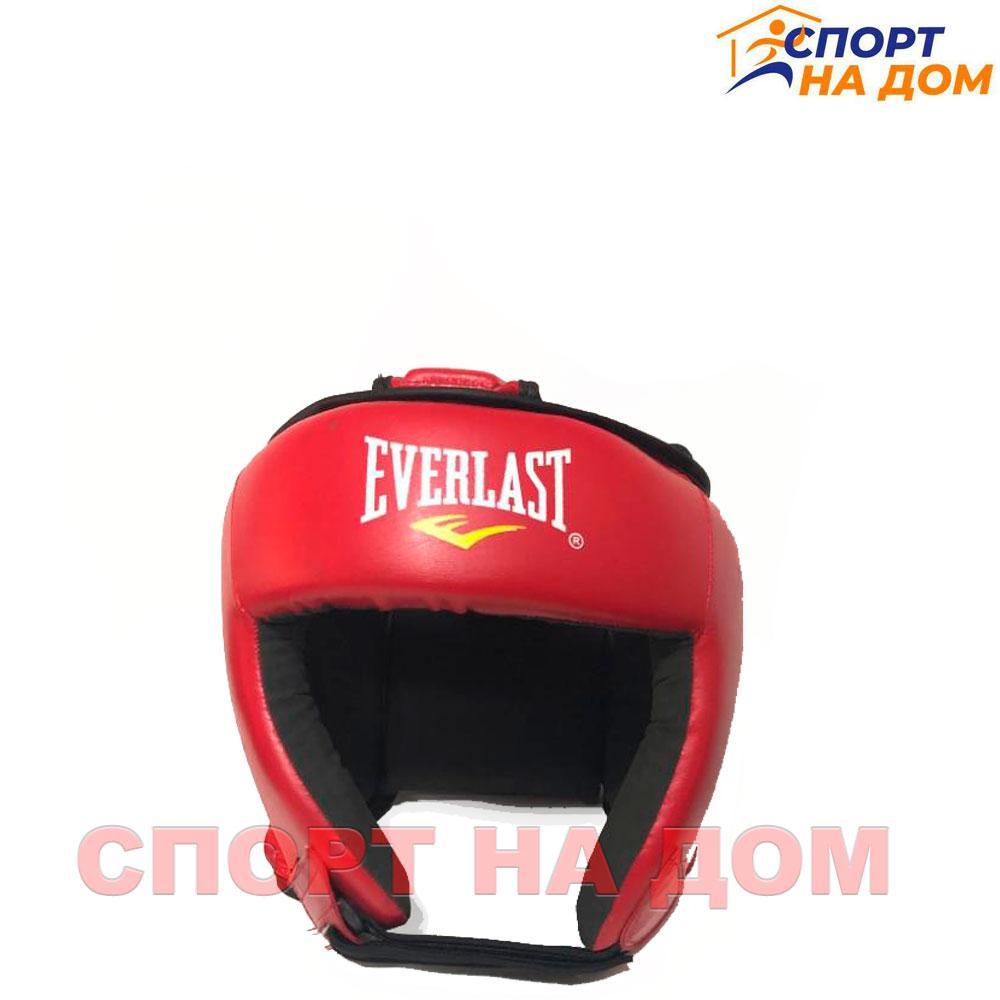 Боксёрский шлем Everlast с крышей  (красный-кожзам) S