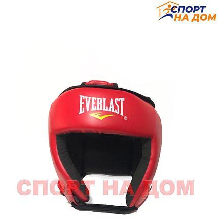 Боксёрский шлем Everlast с крышей  (красный-кожзам) S, фото 2