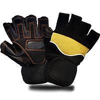 Перчатки для фитнеса и тренажеров турника (без пальцев) черно-желтые