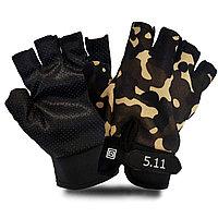 Перчатки для фитнеса и тренажеров турника противоскользящие (без пальцев) камуфляжные