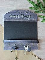 Ключница настенная деревянная с полкой/ держатель для ключей / вешалка с меловой доской декоративная / эбен