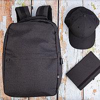 Набор подарочный FORPLANET: бейсболка, рюкзак, бизнес-блокнот, Черный, -, 35056 35