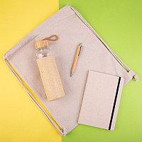 Набор подарочный CANVAS: блокнот, бутылка для воды, ручка шариковая, рюкзак, натуральный, , 35046
