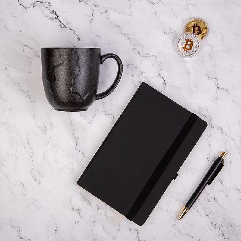 Набор подарочный BLACKNGOLD: кружка, ручка, бизнес-блокнот, коробка со стружкой, черный, , 35064