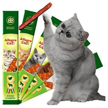 Allegro Лакомство для кошек Колбаски с ягнёнком и индейкой