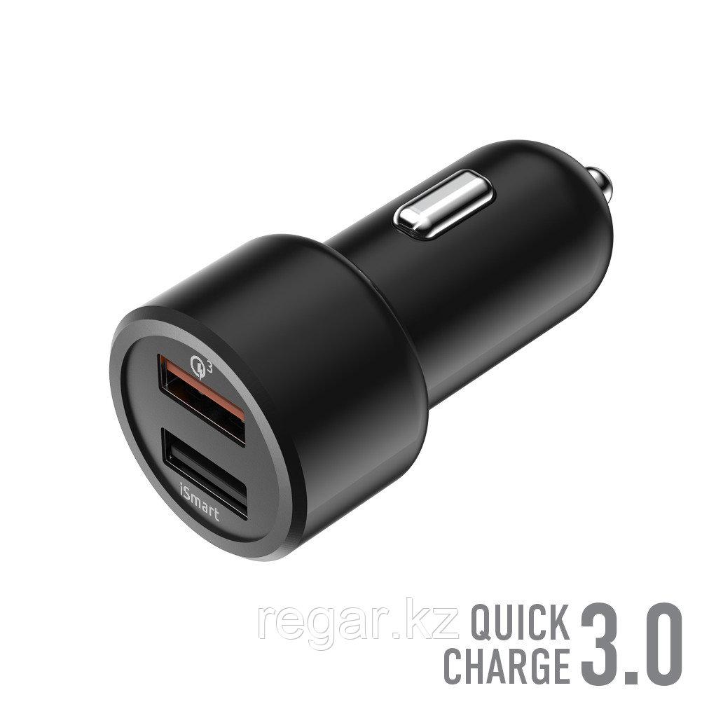 Зарядное устройство автомобильное OLMIO АЗУ 30W, USBx2, 5.4A, QC3.0, Smart IC черный