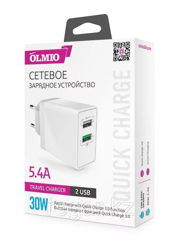 Зарядное устройство сетевое OLMIO 2USB, QC3.0+Smart IC, 30W