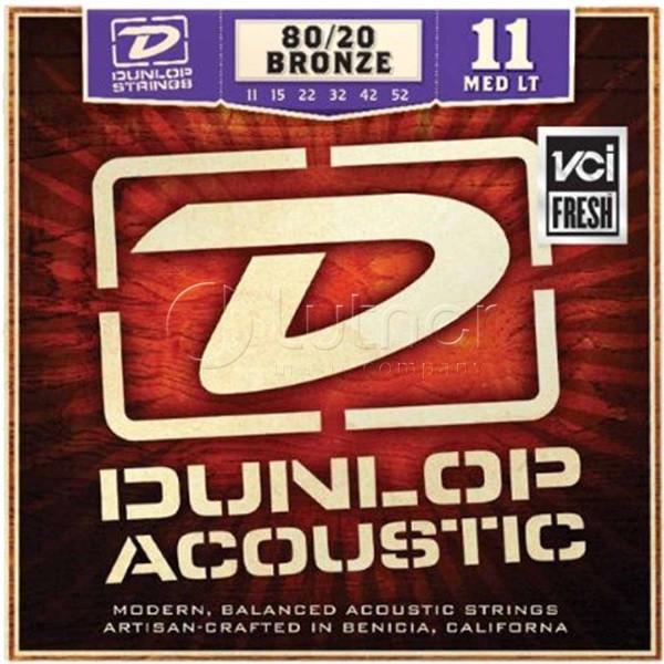 Комплект струн для акустической гитары, бронза 80/20, Medium Light, 11-52, Dunlop