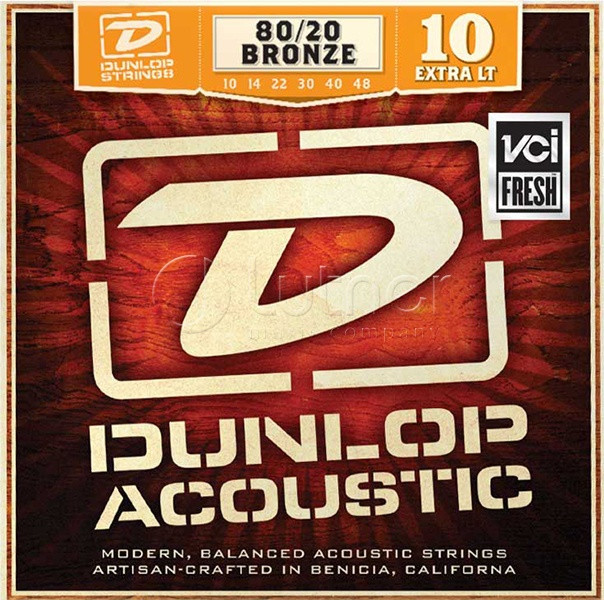 Комплект струн для акустической гитары, бронза 80/20, Extra Light, 10-48, Dunlop