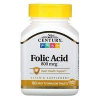 21st Century, Фолиевая кислота, 800 мкг, 180 таблеток, которые легко глотать