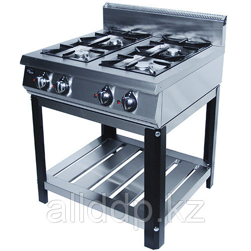 Плита газовая 4-х конфорочная без жароч. шкафа (на подставке) Ф4ПГ/900/50029(реш. нерж)(800х900х1050)