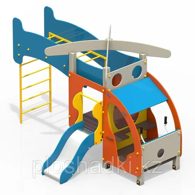 """Детское игровое оборудование """"Вертолет"""" с горкой, лестницей для лазанья и рукоходом"""