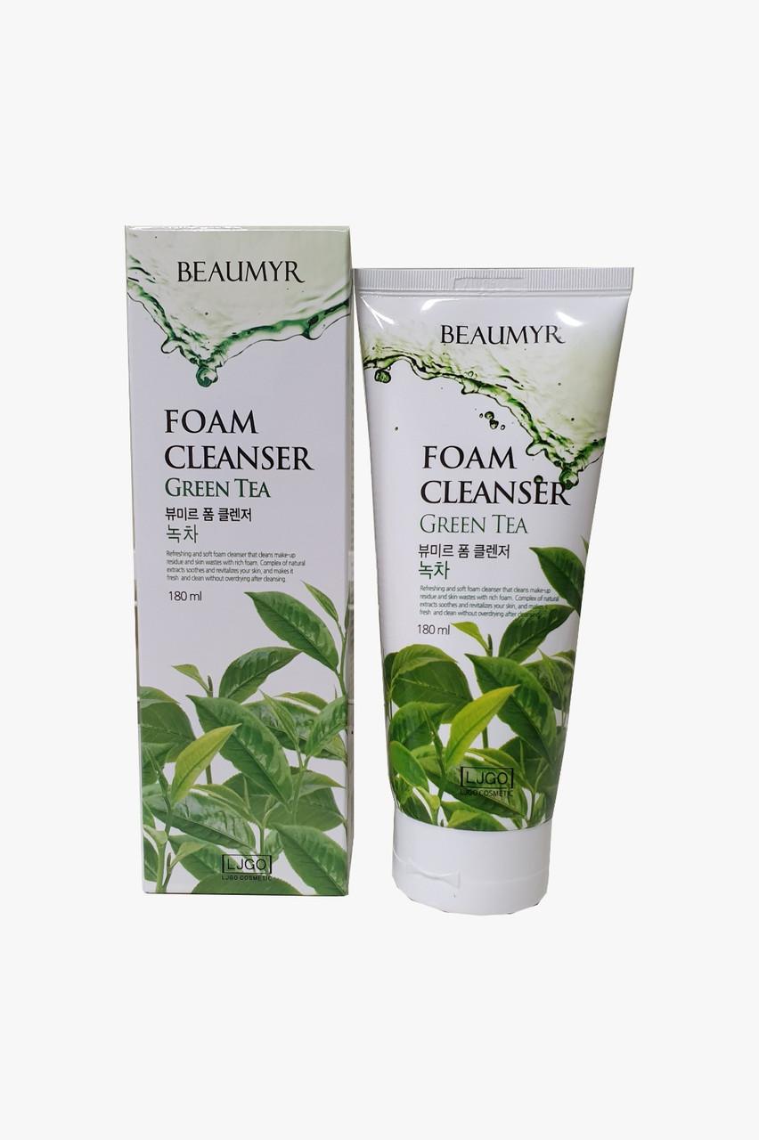 BEAUMYR Освежающая и Мягкая Пенка для Умывания с Зеленым Чаем Green Tea Foam Cleanser 180мл.
