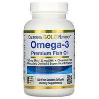 California Gold Nutrition, омега-3, рыбий жир премиального качества, 100 капсул из рыбьего желатина