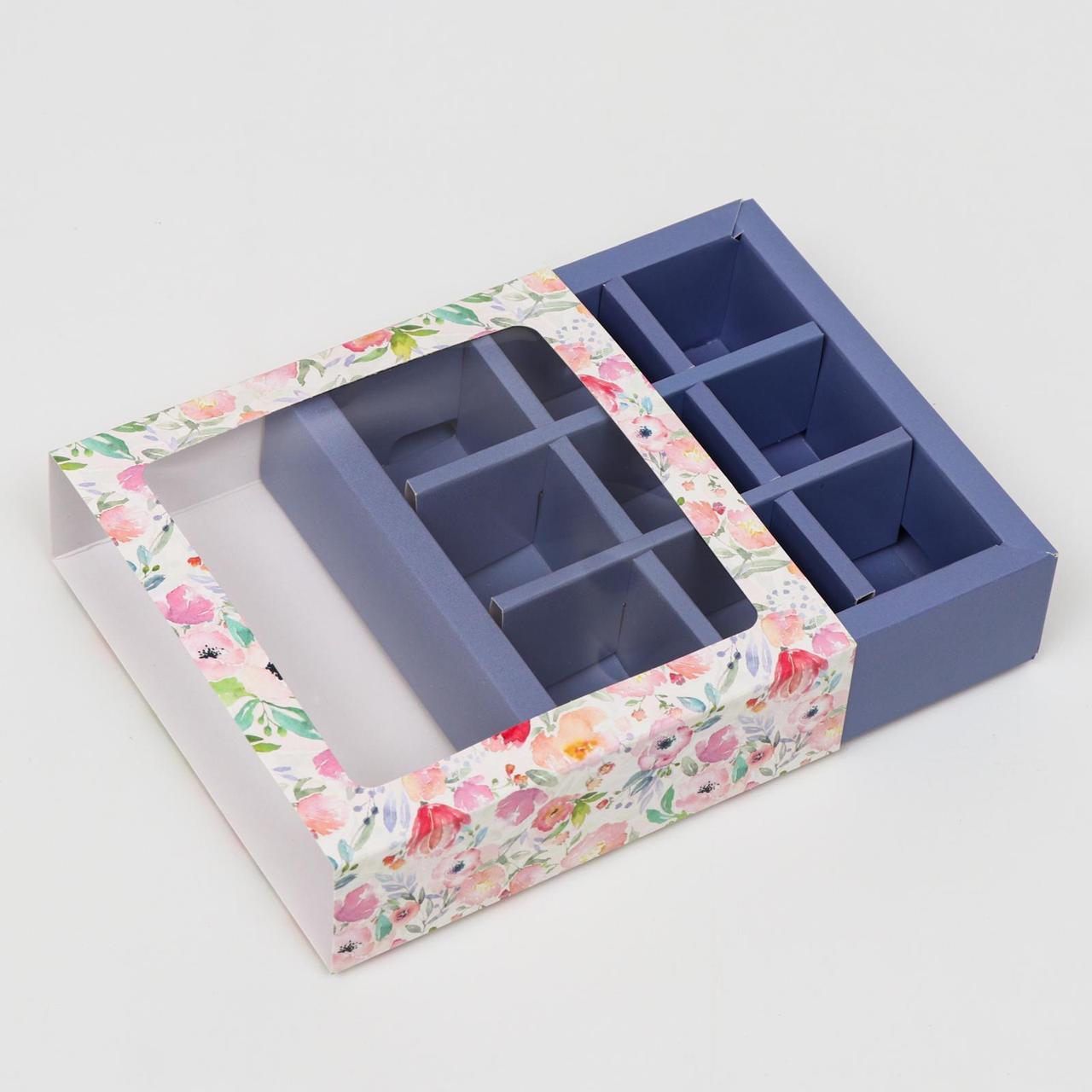 """Коробка под 9 конфет с обечайкой """"Весна"""" сиреневая, с окном, 13,7 х 13,7 х 3,5 см"""